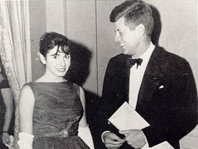 A picture of John F kennedy with Nancy Pelosi
