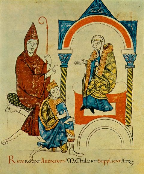 A painting of Henry IV and Pope Gregory VII
