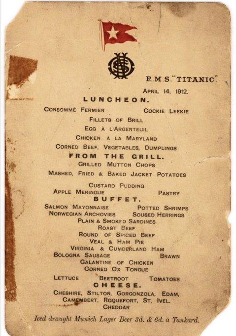 A picture of the Titanic menu