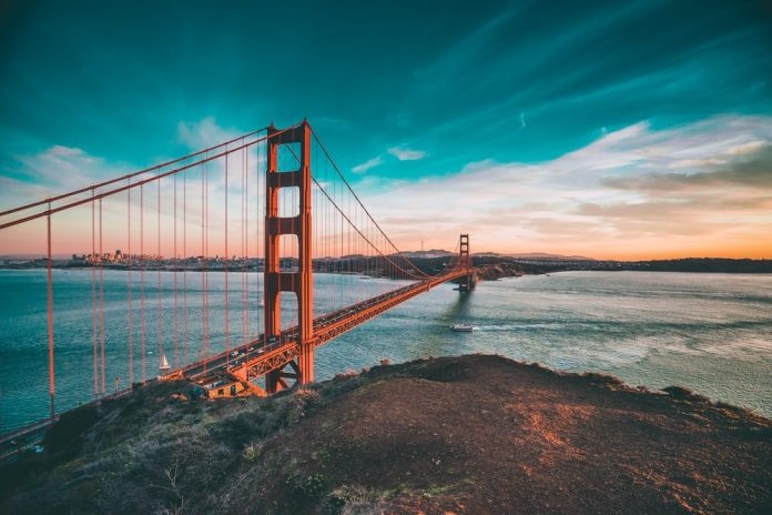 A click of the Golden Gate Bridge, a landmark of one of the most famous US states, San Francisco