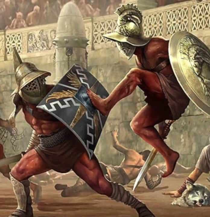 A painting of ancient Roman gladiators