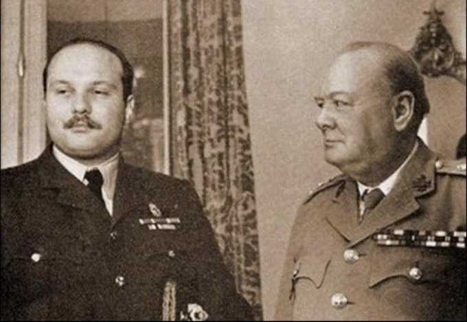 An image of King Farouk I and Winston Churchill