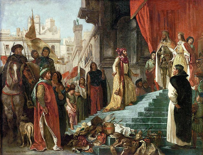 A painting of Columbus' arrival in Spain